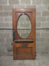 ~ UNIQUE ANTIQUE CARVED OAK DOOR OVAL BEVELED GLASS ~ 34 X 74.75 ~ SALVAGE ~