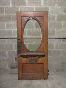 ~ UNIQUE ANTIQUE CARVED OAK DOOR OVAL BEVELED GLASS ~ 34 X 74.75 ~ SALVAGE ~