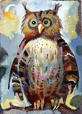 ACEO Funny Owl / LE Print of Original Painting by Sergej Hahonin