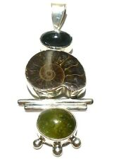 "LARGE 3.25"" STERLING SILVER CATS EYE AMMONITE ESTATE PENDANT FOR NECKLACE"