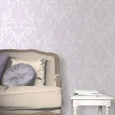 Damask Wallpaper Traditional Luxury Motif Feature Decor Lilac Juliette Muriva