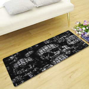 Gothic Cool Skull Rose Flower Rose Flannel Rectangle Rug Carpet Floor Mat