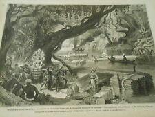 Gravure 1874 - Mission aux ruines des anciens monuments du Cambodge