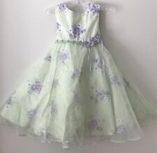Girls 3T La Princess Green Embroidered Sleeveless Spring Summer Dressy Dress