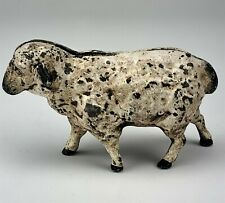 Antique Hand Painted Cast Iron Sheep Lamb Still Coin Money Saving Piggy Bank 777