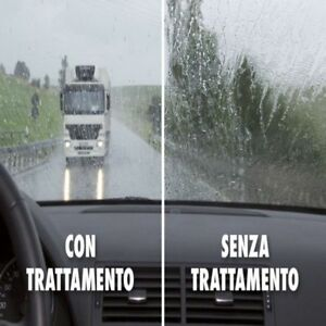 Migliora notevolmente la visibilità' in caso di maltempo con lo Spray vetri auto