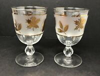 Set of 2 Vintage Frosted Libbey Glasses Gold Leaf Stemmed Goblets