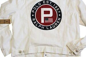 Polo Ralph Lauren Garment Dyed Logo Flag USA White Denim 1967 P Trucker Jacket