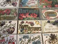"~12 Large Letter BIRTHDAY ~""Happy Birthday"" Antique Greetings Postcards Lot-a644"