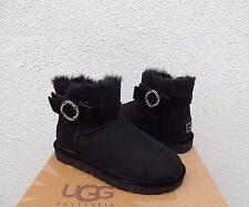 UGG BLACK KARLIE BROOCH BLING SUEDE/ SHEEPSKIN BOOTS, US 8/ EUR 39 ~NEW