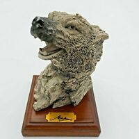 """Wolf Head Mounted on Wood Block - 6 1/2 """" high 4"""" Square Base"""