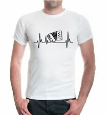 Herren Unisex Kurzarm T-Shirt Musikfrequenz-Akkordeon Musikinstrument accordeon