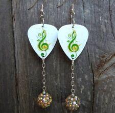 Green Treble Clef Guitar Pick Earrings with Studded Rhinestone Dangles