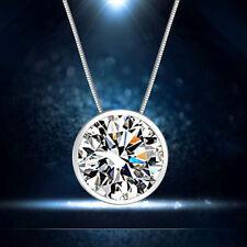 Silber Plated Halskette mit kleinem Runden klaren Cubic Zirkonia Anhänger Neu