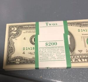100 UNCIRCULATED RARE $2.00 Bills,  Sequentially # Bank Notes HUGE Investment!