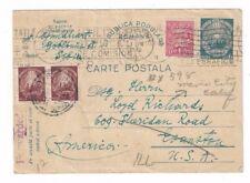 1948 Sibiu Romania Uprated Postal Card to Evanston Illinois