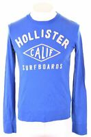 HOLLISTER Mens Graphic Top Long Sleeve Small Blue Cotton  KR10