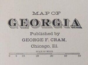 "Vintage 1903 GEORGIA Map 14""x22"" ~ Old Antique Original SAVANNAH SPRINGFIELD GA"