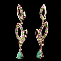 Unheated Pear Emerald Chrome Diopside Rhodolite 925 Sterling Silver Earrings