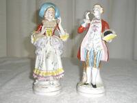 Set 2 Vintage Porcelain Figurines Colonial Man and Lady