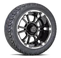 "(4) Fairway Alloys 12"" Sixer Golf Cart Car Rim Wheel & EFX Low Profile Tires FA"