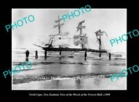 OLD POSTCARD SIZE PHOTO NORTH CAPE NEW ZEALAND FORREST HALL SHIP WRECK c1909