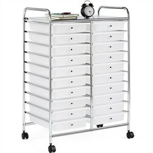 20 Drawers Rolling Storage Cart Bin Scrapbook Paper Office School Organizer