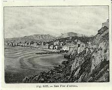 Stampa antica GENOVA SANPIERDARENA veduta panoramica 1889 Old antique print