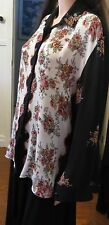 Ladies long sleeved Blouse black back and floral front size Small