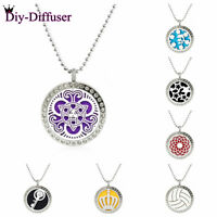 25MM Locket Pendant Perfume Essential Oil Aromatherapy Diffuser Necklace Gift