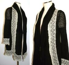 Anthropologie Guinevere Black Motif Crochet SWEATER Open Front Cardigan L NWT