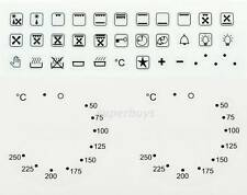 Combo 38pc Symbols & 50-250 Degree Oven Dial Switch Stove Cooktop Sticker Label