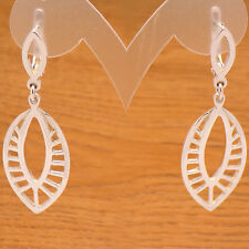 Elegant Solid 925 Sterling Silver Leaf Design Long Dangle French Clip Earrings