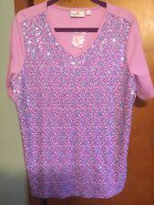 Quacker Factory Glitter Sequin Swirl Short Sleeve T-shirt Size L Pink
