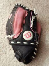 WILSON Black Pink Leather Monsta Web A440 11-PD Fast Pitch Softball Glove RHT