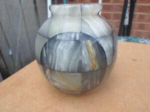 Vintage Cut Marble / Agate / Onyx ? Stone Vase with Geometric Circles Design