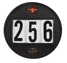 LeMieux Hamag Premium Leather Dressage ROUND BRIDLE NUMBER HOLDER Display Black