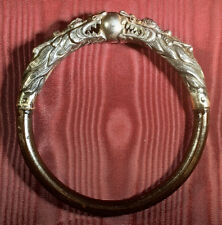 VINTAGE CHINESE SILVER DRAGONS and RATTAN BANGLE