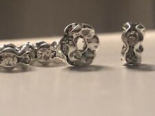 Beautiful Crystal Flower Shaped Rondelle Spacer Beads. Silver. Very Sparkly.