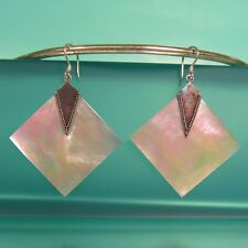"1 1/2"" Diamond Shape Mother of Pearl 925 Sterling Silver Dangle Earring"