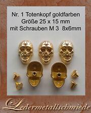 Nr.1 - 3x Totenkopf /Skull,Größe 25x15mm,goldfarben,Schraubnieten, Ziernieten,