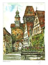 6 Aquarelle Historische dt. Städte: Heidelberg Monschau Nürnberg... 30x40cm