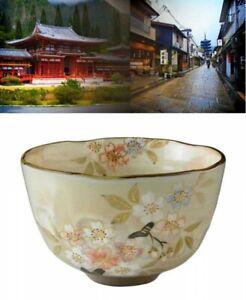 Kyo Kiyomizu Ware Pottery Matcha Tea Bowl Sakura Cherry Blossoms Japan Tracking