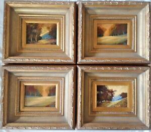 """SET of FOUR (4), Original Oils. Plein Air Landscapes, 5"""" by 7"""", M.J.T."""