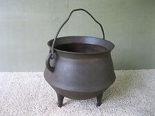 Antique #6 Kettle Cast Iron, Bulge 3-Leg Primitive Bean Pot Cauldron, Gatemark