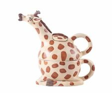 New Blue Sky Giraffe Tan,Brown Ceramic Tea For One,Tea Pot,Cup,Mug 15289