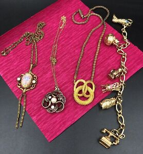 Vintage Large Costume Jewelry Lot Avon Charm Bracelet Owl, Emmons Necklace