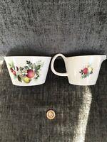 Crown Clarence Staffs Milk Jug/ Sugar Bowl. Autumn Fruit Design Ideal Gift