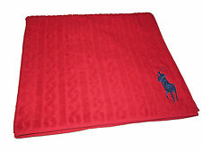Ralph Lauren Home Red Cable Knit Blue Big Pony Polo Luxury Beach Resort Towel