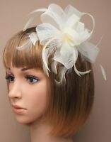 Bridal/Wedding Looped Ribbon Ivory Large Flower Feather Fascinator Hair Comb